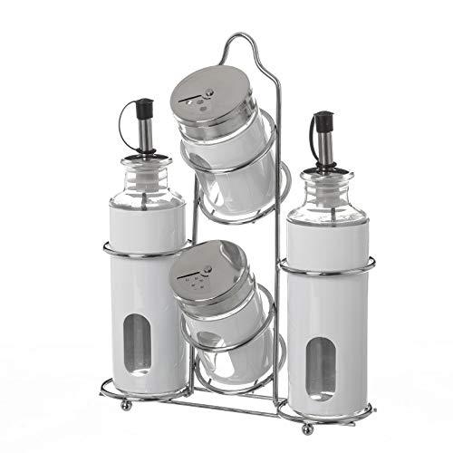 Dcasa - Aceitera vinagrera moderna blanca de cristal para cocina Basic