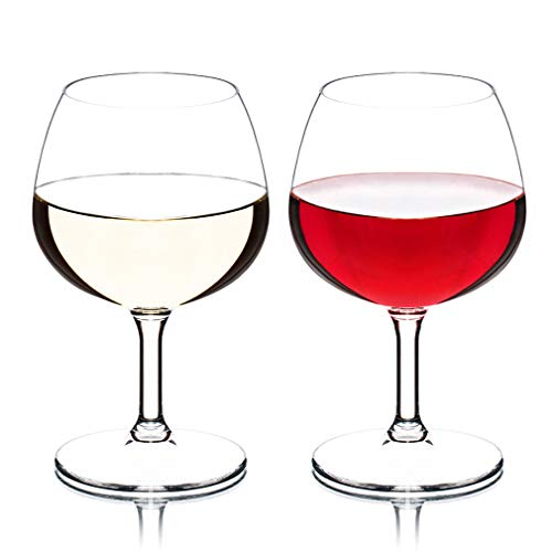 MICHLEY copas vino cristal, 100% Tritan-plástico Irrompible copas de vino, 26 cl copas de vino tinto, BPA y EA gratis vasos de plastico Conjunto de 2