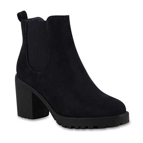 Stylische Damen Boots Stiefeletten Chelsea Boots Knöchelhohe Stiefel Zipper Leder-Optik Booties Schuhe 110404 Marine Blau 40 Flandell