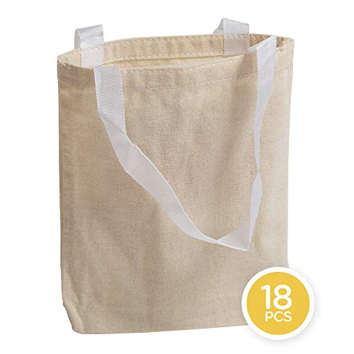 Toy Goodkids 12' Natural Color 100% Cotton Canvas Tote Bags (18 Pack) - Reusable Grocery or Shopping Bags for Men and Women - Perfect for Travel, Fruit, Vegetable, Laundry, Laptop and Book Shopping