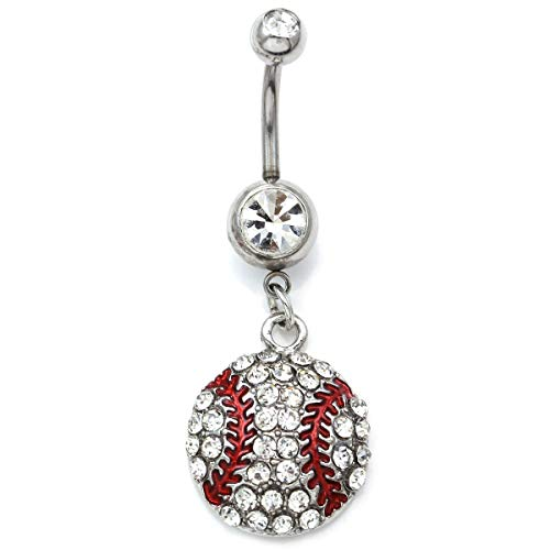 Soulbreezecollection Baseball Belly Ring Softball Dangle Navel Body Sports Charm Fashion Jewelry 14 Gauge