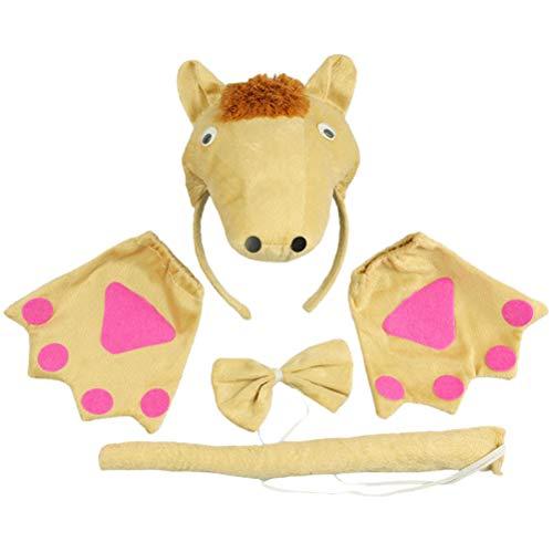 Amosfun 4 stücke Pferd Ohren und Schwanz Set Kinder Tier Kostüm Set Tierohren Stirnband Fliege und Schwanz Handschuhe Party Cosplay Kostüm