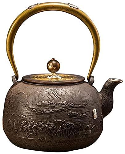 Tetera Hierro Fundido Tetes de hierro fundido Tetesubina Tetera de hierro fundido, infusionador de té resistente al calor retro, para el hogar del hogar Party Office, 1.3L Accesorios de té Hierro Fund