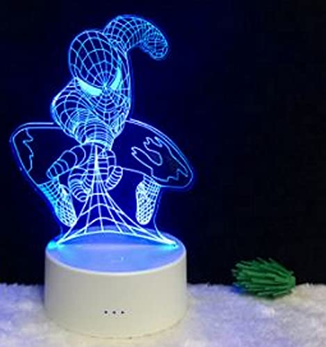 Lámpara de mesita de noche infantil ilusión óptica 3d  regalo para niños  spiderman/osito/búho (Spiderman)