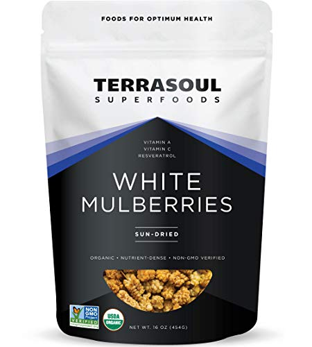 Terrasoul Superfoods Organic Sun-dried White Mulberries, 1 Lb - Low Glycemic | Naturally Sweet | Rich in Vitamin C