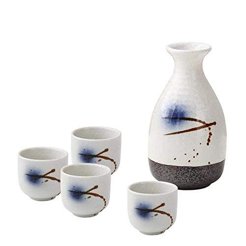 AABBC Sake Set, 5 Piece Set Sake Serving Set, Quaint Texture Glaze Ink Painting, for Cold/Warm/Hot Sake/Shochu/Tea, Best Gift for Family and Friends