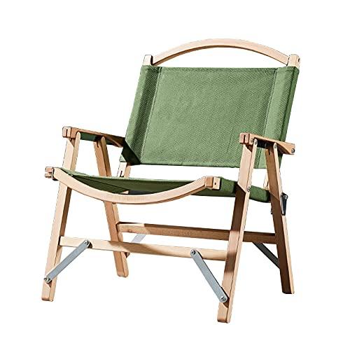 Silla plegable para acampar al aire libre de madera maciza reclinable para...