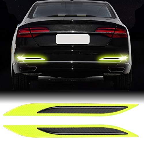 Fengyuechen Auto Folie Carbon Fiber Aufkleber Film, 2 PCS Carbon Fiber Car-Styling Heckstoßstange Zierleiste, Außen Reflexion + Inner-Carbon-Faser, Für Auto/Motorrad/Fahrrad-für Innen/Außen
