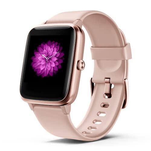 Smartwatch Damen, 1,3'' Full-Touchscreen Fitness Tracker 5ATM Wasserdicht Fitness Armbanduhr mit Herzfrequenz Schlafmonitor Schrittzähler Kalorien Musiksteuerung Stoppuhr Smart Watch
