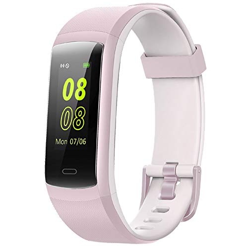 Fitness Tracker,YAMAY Fitness Watch Heart Rate Monitor Activity Tracker,Color Screen Dual-Color Bands IP68 Waterproof,with Step Counter Sleep Monitor 14 Sports Tracking for Women Men(Pink-White)