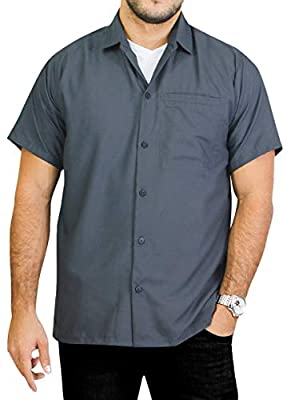 LA LEELA Men's Relaxed Funny Hawaiian Shirt Beach Button Down Up 3XL Grey_W875