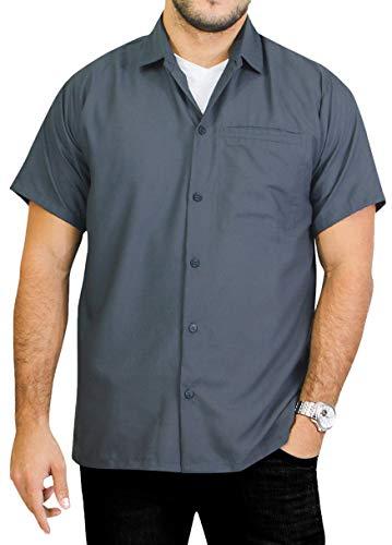 LA LEELA Men's Button Down Classic Hawaiian Beach Shirt Solid Plain...
