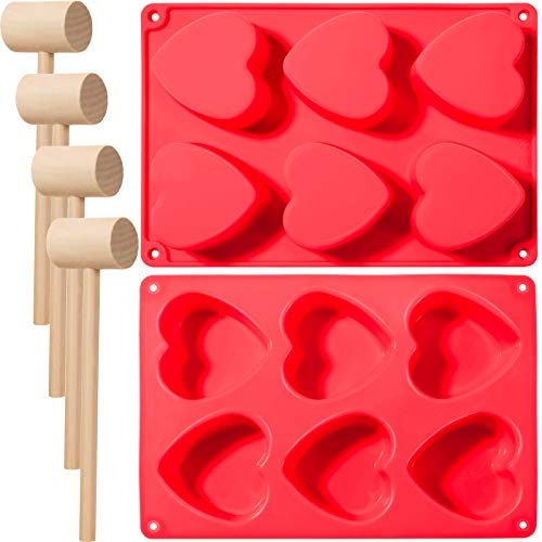 2 Pieces 6 Holes Heart Silicone Molds Heart Shaped Chocolate Mold Baking Mold with 4 Pieces Wooden Hammer Mallet Pounding Tool for Mousse Cake Chocolate Pudding Jelly Soap (Red)