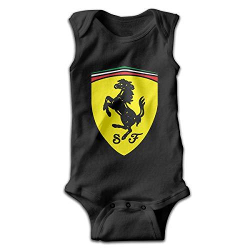 PWEIZS Ferrari Neugeborene Kleinkinder Süße Baby Bodys Boys Mädchen Ärmelloses Outfit Creeper Schwarz 0-3M