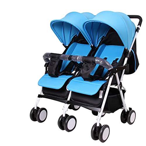 Amazing Deal OCYE Foldable Double Seat Baby Stroller/Tandem Double Stroller/5 Point Double Stroller, Light Adjustable backrest Oversized Storage Basket Four Seasons Universal, Blue