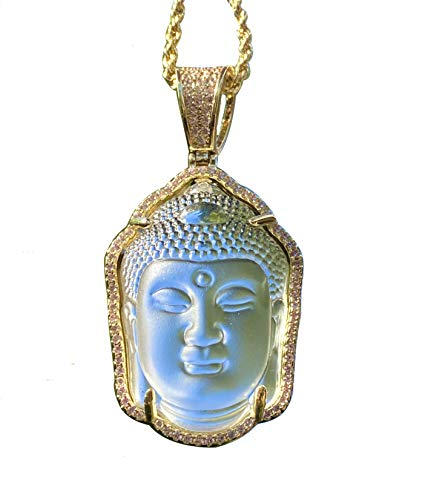 Iced Guanyin Tathagata Buddha White Jade Pendant Necklace 20' Rope Chain Genuine Certified Grade A Jadeite Jade Hand Crafted, Jade Necklace, 14k Gold Filled Laughing Jade Buddha Necklace, Jade Medallion, Fast Prime Shipping