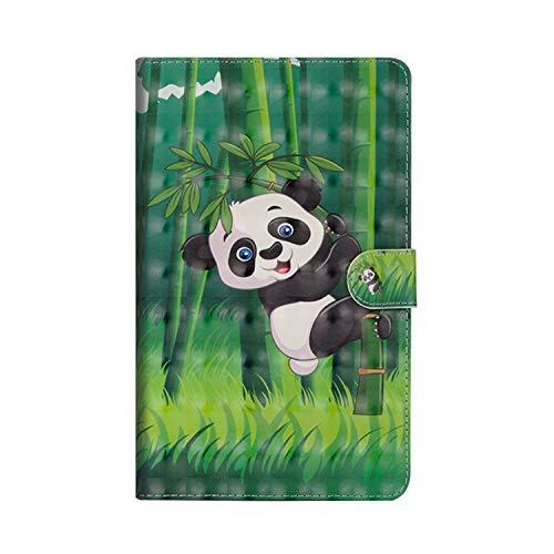 KimsCase Funda para Samsung Galaxy Tab 3 8.0 Pulgadas SM-T310/T311/T315 Libro Piel Cuero Silicona con Tapa y Cartera Magnetica Dibujos Resistente Carcasa Case Antigolpes TPU Bumper Cover - Panda