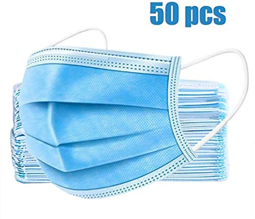 50pcs 3-Ply Disposable Face Mask Can be Used in Offices, Households Sensitive to Pets, and Crowded Places, with Elastic…