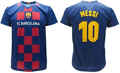Maillot de football Messi 2020 Produit officiel version Home FC Barcelone 2019 2020 en blister. T-shirt Barcelone 10 pour enfant, garçon, adulte, bleu, S adulto