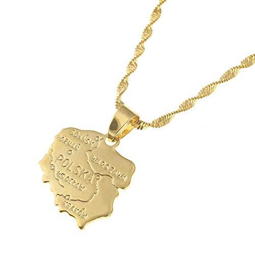 Collar con colgantes de mapa de Polska para mujer, mapa de color dorado de Polonia, joyería de cadena