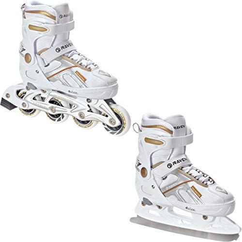 RAVEN 2in1 Schlittschuhe Inline Skates Inliner verstellbar Pulse White/Gold (40-43 (25,5-28))