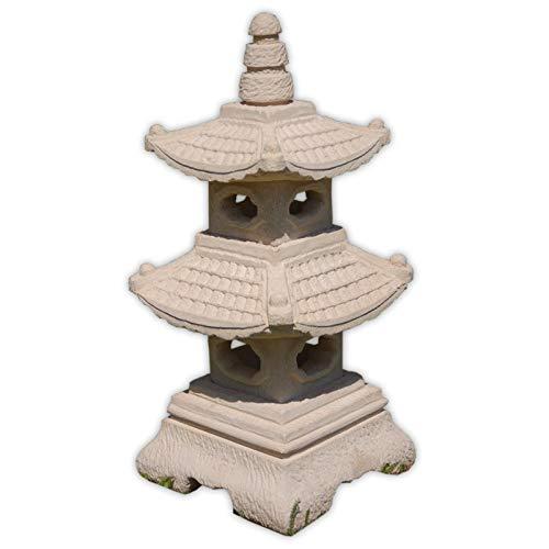 wifash Pagoda, decoración de jardín Lámpara Japonesa Blanca 2 Niveles, Farol Importado de Tailandia (10513)
