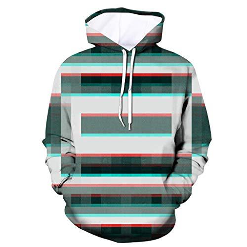 Xmiral Herren Slim Fit Hoodie Lange Ärmel Kapuzenpullover 3D Druck Farbig Sweatshirt Pullover Hooded Streetwear Hemden Strickwaren(h Grau,S)