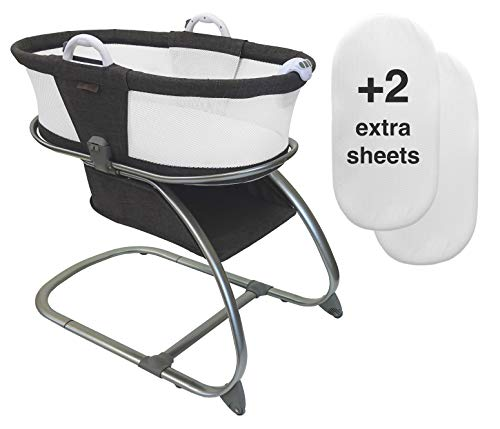 Luxe Premium Quality Baby Planet Oasis Breathable Mesh Convertible Bassinet Bundle with 2 Extra AirLoft Breathable Fitted Sheets (3 Total) (Graphite)