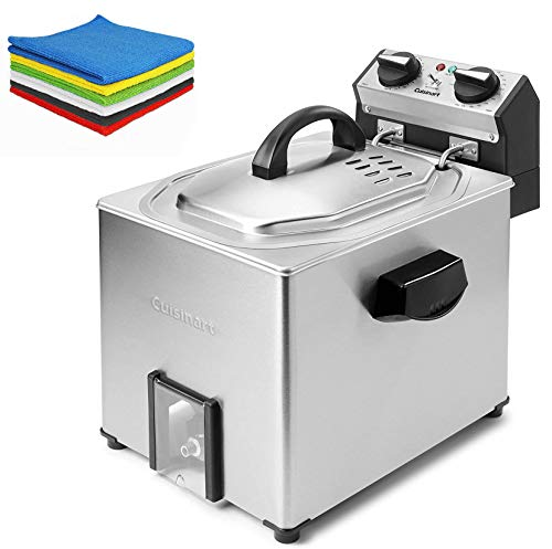 Cuisinart 5 Liter Extra-Large Rotisserie Deep Fryer, Silver - Family Christmas Holiday Bundle for Home Kitchen - BROAGE 6 Colors Microfiber Cleaning Cloths
