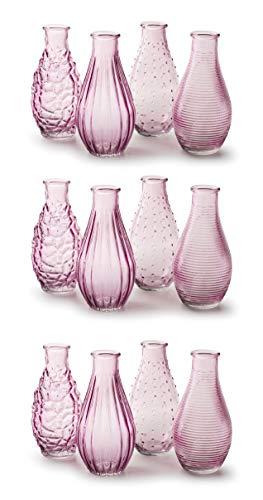 MIK Funshopping Dekoflaschen Vase Fläschchen aus Glas Decor 14 x 7 cm (Pastellrosa, 12)