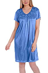 Light Blue Silk Short Sleeve Fine Sequin Nightgown