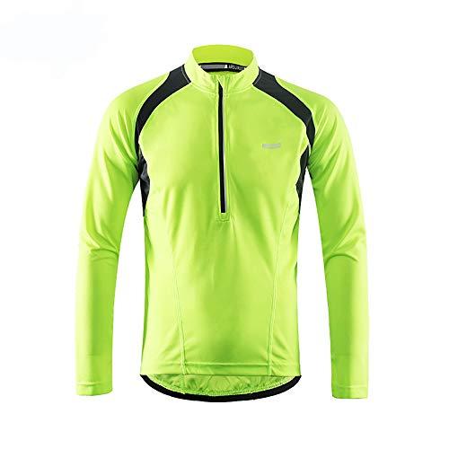 Sunbike Herren Radtrikot, langärmelig, atmungsaktiv, Fahrradtrikot, Fahrrad-Top für Fahrrad, Biker, Fahrrad, grün, Medium