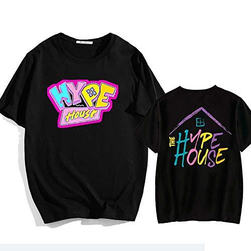 Maison DE LA Hype T-Shirts Manches Courtes/Pull T, col Rond Imprimer Couple S-XXXL Unisexe Tops,Noir,L