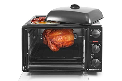 Elite Gourmet Rotisserie, Bake, Grill, Broil, Roast, Toast, Keep Warm and Steam, Convection, Black