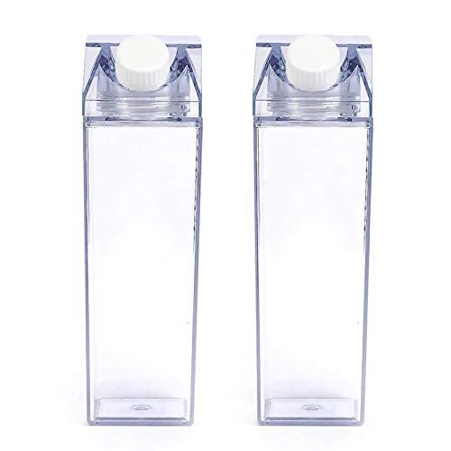 Fomoom Milk Carton Water Bottle, Clear Milk Carton Box Bottle, Plastic Juice Bottle for Outdoor Climbing Travel or Camping, Environmentally Reusable Friendly (Clear-Mermaid, 500Ml-17OZ)