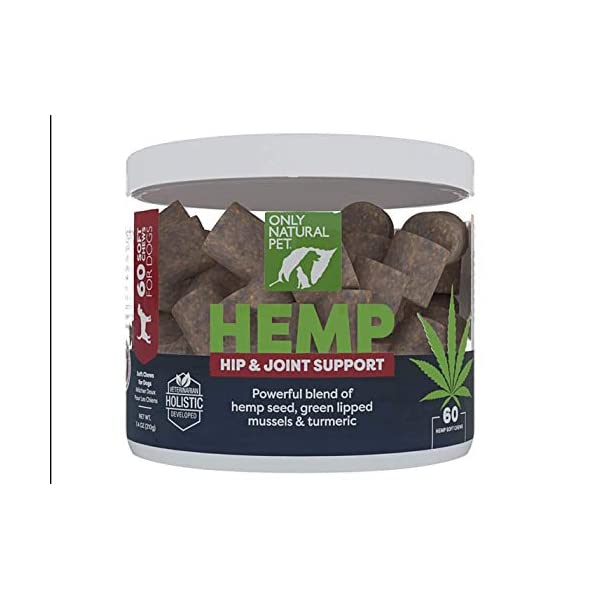 Only Natural Pet Hip & Joint Hemp Soft Chews – with Turmeric, Green Lipped Mussels – Hip & Joint Supplement for Dogs, Pain Relief & Mobility Support Formula