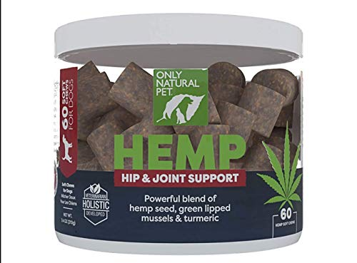 Only Natural Pet Hip & Joint Hemp Soft Chews - with Turmeric, Green Lipped Mussels - Hip & Joint Supplement for Dogs, Pain Relief & Mobility Support Formula, 60 Count