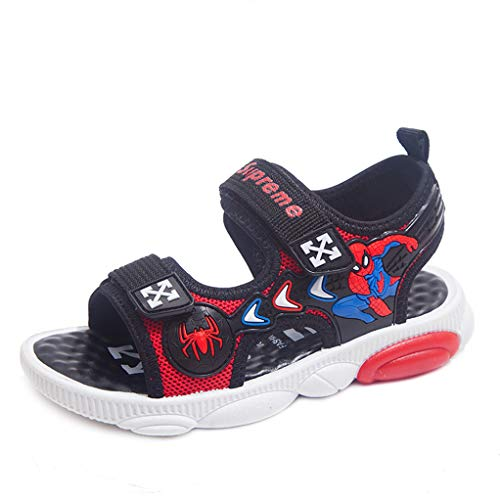 YEMAO Kinder Jungen Spiderman Sandalen, Mode weiche Unterseite Einstellbarer Leichte beiläufige Strand-Schuhe,Red-32 EU