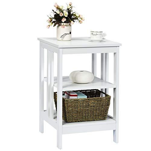 COSTWAY Nachttisch 3 Ebenen, Beistelltisch Nachtschrank, Sofatisch Couchtisch für Schlafzimmer, Wohnzimmer 40x40x61cm (Weiß, II-förmig)