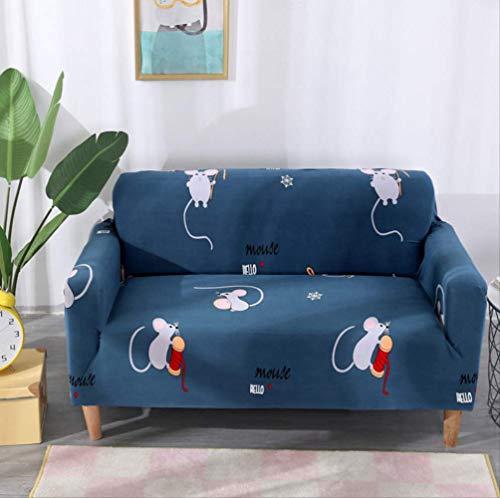DYB&home Stretch Sofabezug Sofaüberwurf Sofahuss Couchüberwurf Kissenbezugs 1/2/3/4 Sitzer, Blau Cartoon Ratte Jacquard Elastic Chair Loveseat Couch Sofa