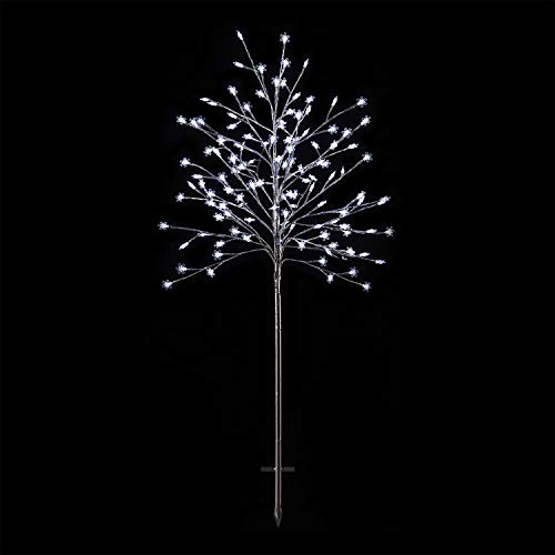 Alpine Corporation LAN252L Frosty Tree with Cool White LED Lights, Indoor and Outdoor Holiday Décor Christmas Snowflake, Multi