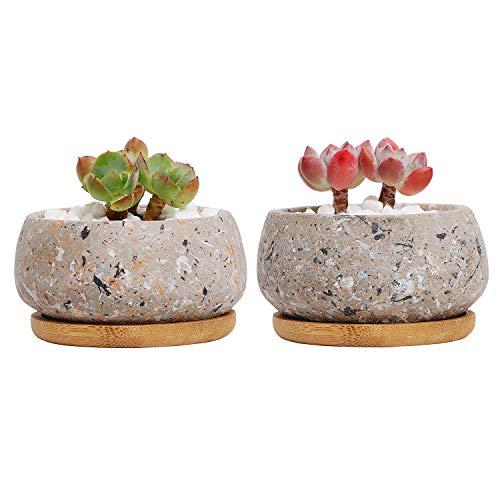 T4U 10cm Zement Sukkulenten Töpfe Rund mit Untersetzer, Beton Übertopf Klein für Kakteen Miniatur-Pflanzen, 2er-Set…
