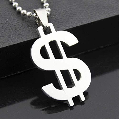 ZHIFUBA Co.,Ltd Collar de Moda para Hombre, Cadena con Cuentas, Collares con dijes de dólar, Collares con Colgante de Acero Inoxidable para Hombres, para Accesorios de Fiesta