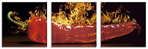 Artland Glasbilder Wandbild Glas Bild Set 3 teilig je 20x20 cm Quadratisch Essen Gewürze Chili Feuer Peperoni Scharf Modern S7PR