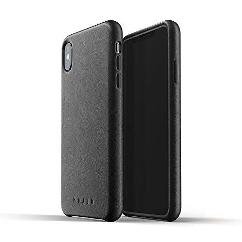 Mujjo Funda de cuero compatible con iPhone XS Max | Piel auténtica efecto envejecido natural, botones cubiertos, marco protector de 1mm, forro de ante japonés (Negro)