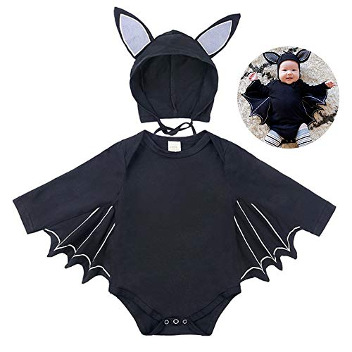 Jungen Mädchen Halloween Cosplay Kostüm Kleinkind Fledermaus Muster Strampler + Hut (3-6 Monate)