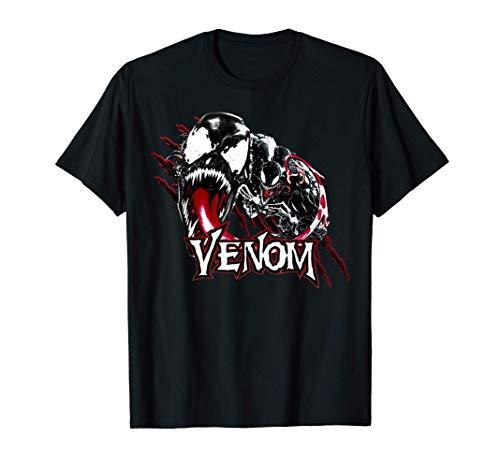Marvel Venom Character Profile Scratch Badge T-Shirt
