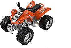 Die cast friction quad bike Pull back and watch it go 4 assorted colours - 1 supplied at random Suitable for ages 3+