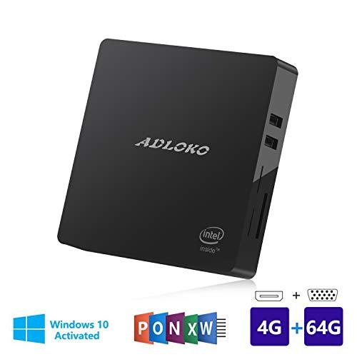 Mini PC, 4GB/64GB Windows 10 64-bit Intel Atom Z8350 (up to 1.92GHz), 4K/HDMI/VGA/USB 3.0/Gigabit Ethernet/Dual WiFi/SD Card Reader/BT 4.0, Fanless Mini Computer Desktop