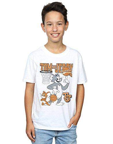 Tom and Jerry Niños Spinning Basketball Camiseta Blanco 7-8 Years